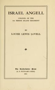 Cover of: Israel Angell | Louise Lewis Lovell