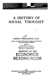 Cover of: A history of social thought