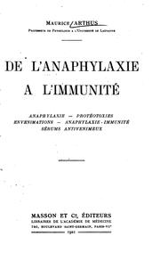 Cover of: De l'anaphylaxie à l'immunité