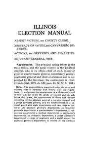 Cover of: Manual of election laws of Illinois