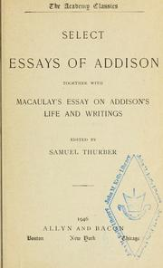 Cover of: Select essays of Addison | Joseph Addison