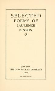 Cover of: Selected poems of Laurence Binyon