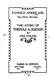Cover of: The Story of Thomas A. Edison