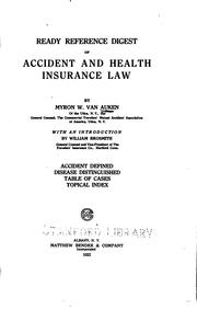 Cover of: Ready reference digest of accident and health insurance law