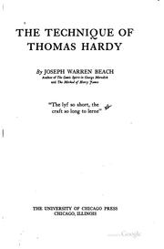 The technique of Thomas Hardy by Joseph Warren Beach