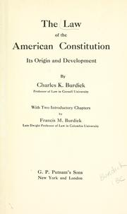 Cover of: The law of the American Constitution