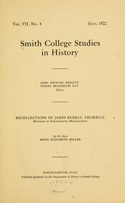 Cover of: Recollections of James Russell Trumbull ..