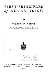 Cover of: First principles of advertising