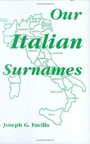 Cover of: Our Italian Surnames | Joseph G. Fucilla