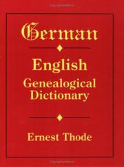 Cover of: German-English Genealogical Dictionary
