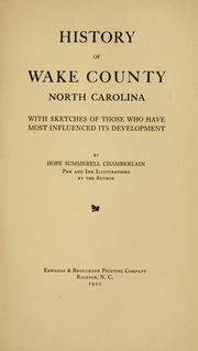 Cover of: History of Wake County, North Carolina | Hope Summerell Chamberlain