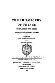 Cover of: The philosophy of things