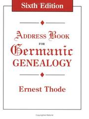 Cover of: Address Book for Germanic Genealogy 6th ed