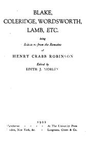 Cover of: Blake, Coleridge, Wordsworth, Lamb, etc