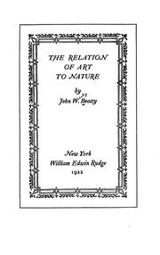 Cover of: The relation of art to nature