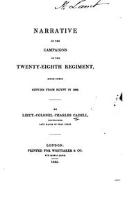 Cover of: Narrative of the campaigns of the Twenty-eighth Regiment, since their return from Egypt in 1802