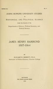 Cover of: James Henry Hammond, 1807-1864 | Elizabeth Merritt