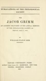 Cover of: Jacob Grimm | William Paton Ker
