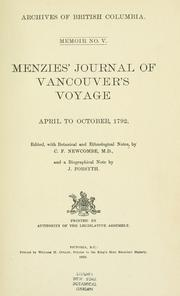 Cover of: Menzies' journal of Vancouver's voyage, April to October, 1792