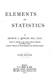 Cover of: Elements of statistics