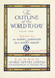 Cover of: The outline of the world to-day
