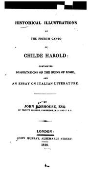 Cover of: Historical illustrations of the fourth canto of Childe Harold