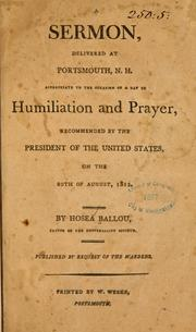 Cover of: A sermon, delivered at Portsmouth, N.H., appropriate to the occasion of a day of humiliation and prayer