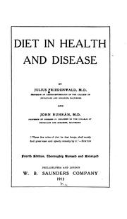 Cover of: Diet in health and disease | Friedenwald, Julius