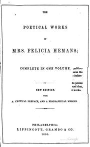 Cover of: Poems by Felicia Dorothea Browne Hemans, Hemans Mrs