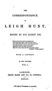 Cover of: The correspondence of Leigh Hunt