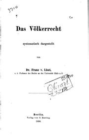 Cover of: Das Völkerrecht