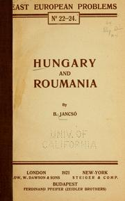 Cover of: Hungary and Roumania