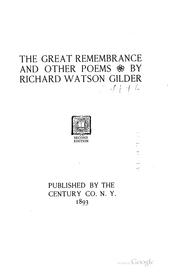 Cover of: The great remembrance, and other poems