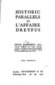 Cover of: Historic parallels to l'affaire Dreyfus