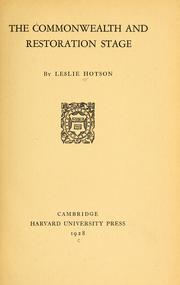 Cover of: The Commonwealth and Restoration stage
