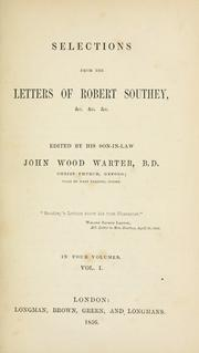 Cover of: Selections from the letters of Robert Southey