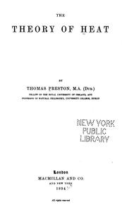 Cover of: The theory of heat