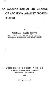 An examination of the charge of apostasy against Wordsworth by William Hale White