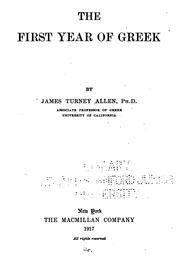 Cover of: The first year of Greek | James Turney Allen