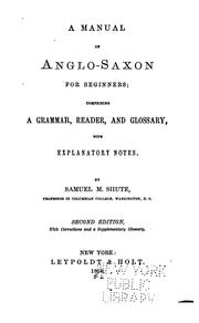 Cover of: A manual of Anglo-Saxon for beginners