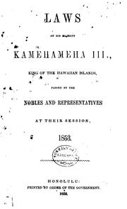Cover of: Laws of His Majesty Kamehameha III., king of the Hawaiian Islands | Hawaii.
