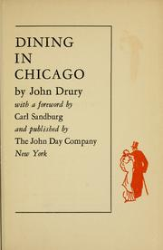 Cover of: Dining in Chicago | Drury, John