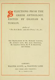 Cover of: Selections from the Greek anthology |