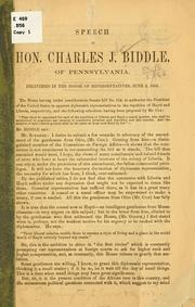 Cover of: Speech of Hon. Charles J. Biddle, of Pennsylvania | Charles J. Biddle