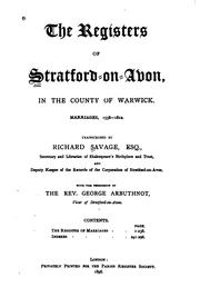 Cover of: The registers of Stratford-on Avon | Stratford-upon-Avon (Parish)