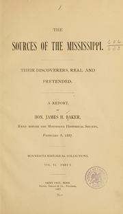 Cover of: sources of the Mississippi. | Baker, James H.