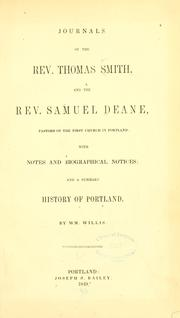 Journals of the Rev. Thomas Smith, and the Rev. Samuel Deane by Smith, Thomas
