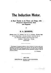 Cover of: induction motor. | B. A. Behrend