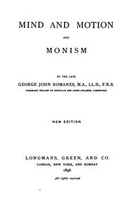Cover of: Mind and motion and monism