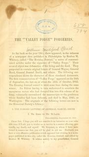 "Cover of: The ""Valley Forge"" forgeries"